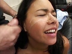 Dana takes a cum facial while on the phone and interview