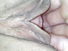 Four fingers in her pussy CLOSE UP