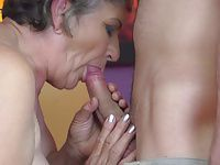 Granny gets young cock in hairy old cunt
