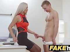 Female Agent Cum hungry horny agent gets fucked and swallows