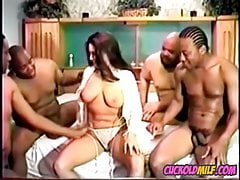 Cuckolds MILF wife with 4 BBCs at once Vintage video