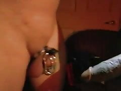 Cuckold in chastity watching his wife leashed fucked by bbc