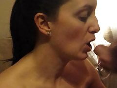 Grumpy MILF cock sucking and mouth fucked until cumshot