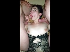 Naughty Amateur Wife Pulls the Cum Right Out of Us