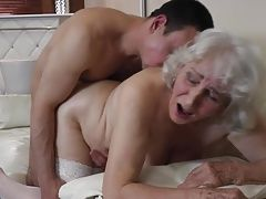 Granny with hairy cunt having sex with boy