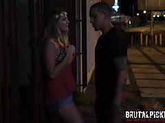 Hippie teen gets brutal pickup and wild sex on the street