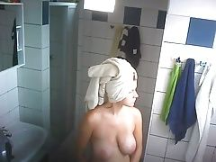 Big Hangers Getting Out of Shower