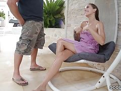 Petite German Teen Seduce to Fuck and Facial by Stranger