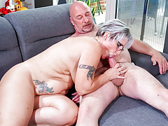 LETSDOEIT - German Chunky Granny Fucks Hard Amateur Neighbor