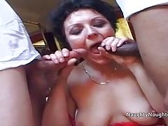 Scottish Shaz is assfucked by black and white