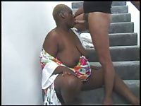 BBW BLACK GRANNY WITH FAT ASS FUCKED IN THE STAIRS