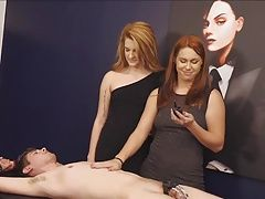 Mistress and her friend shock torture chastity slave