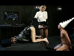 Mistress Madeline whips and strapon fucks slave