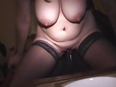 BBW with big boobs ride BBC till internal creampie