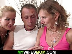 Hairy pussy mature mom rides her husbands cock